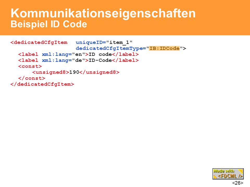 Kommunikationseigenschaften Beispiel ID Code