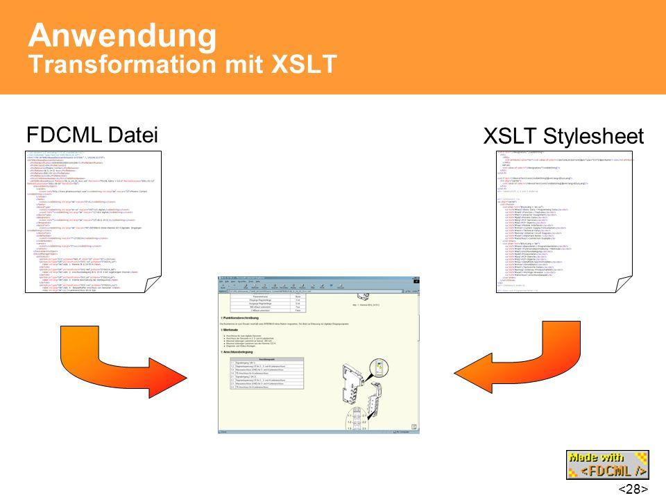 Anwendung Transformation mit XSLT