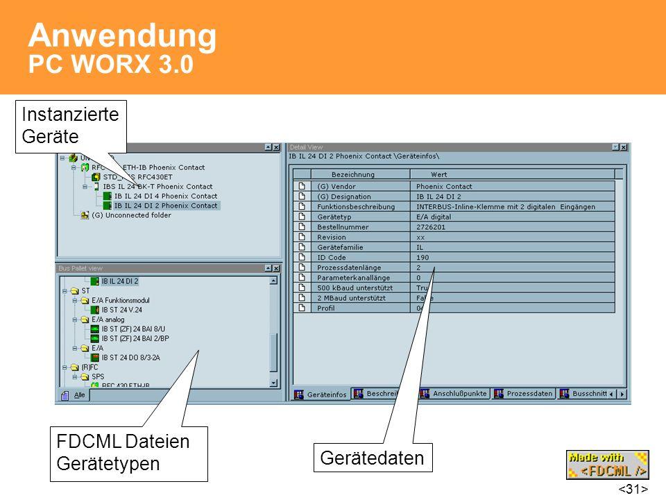 Anwendung PC WORX 3.0 Instanzierte Geräte FDCML Dateien Gerätetypen