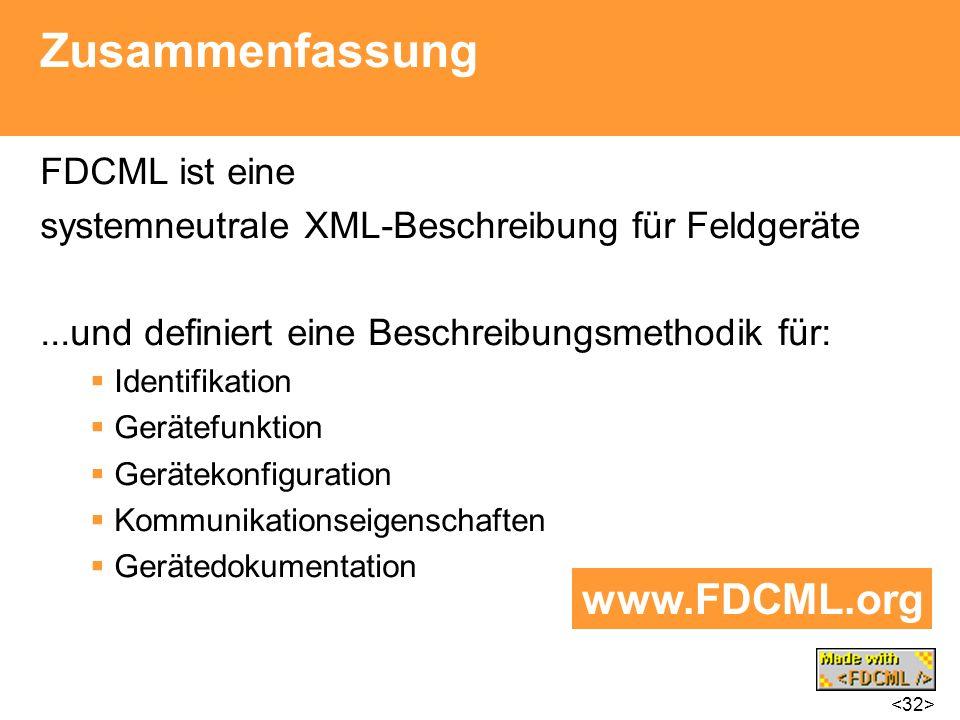 Zusammenfassung www.FDCML.org FDCML ist eine