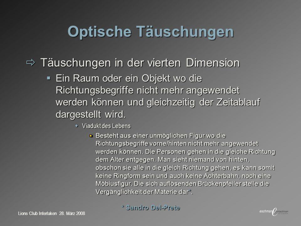 Optische Täuschungen Täuschungen in der vierten Dimension