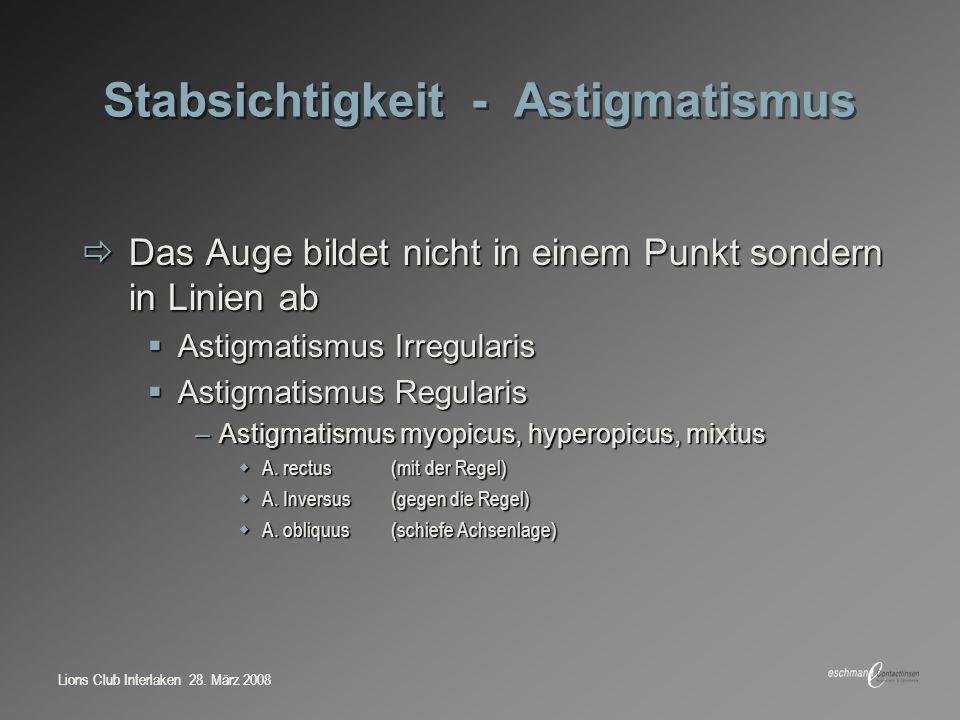 Stabsichtigkeit - Astigmatismus