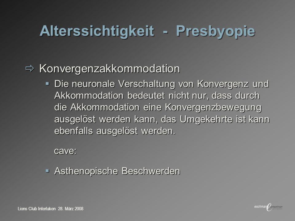 Alterssichtigkeit - Presbyopie