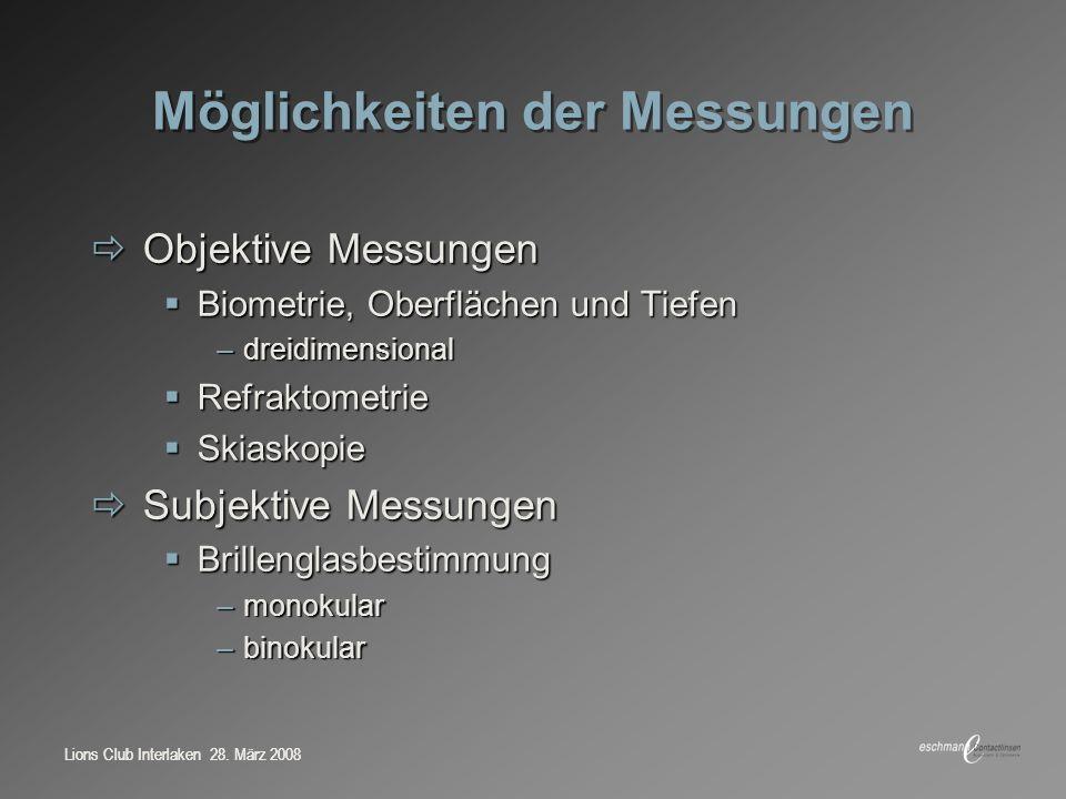 Möglichkeiten der Messungen