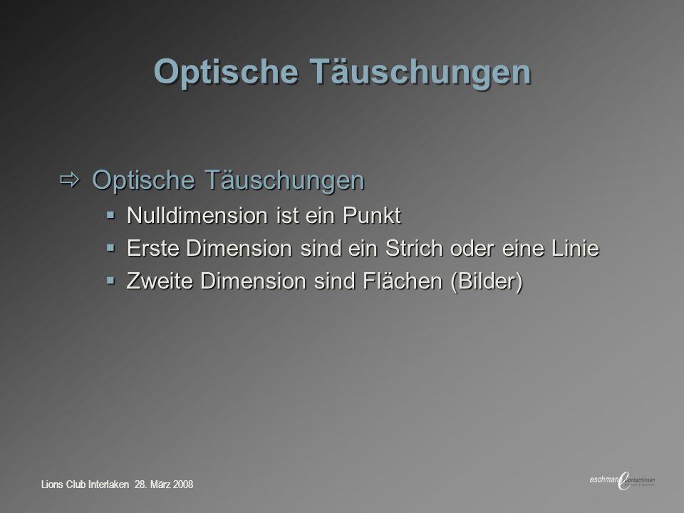 Optische Täuschungen Optische Täuschungen Nulldimension ist ein Punkt