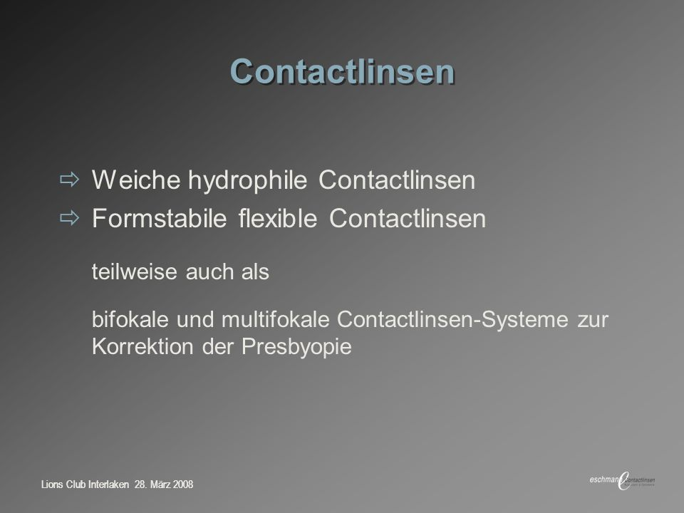 Contactlinsen Weiche hydrophile Contactlinsen