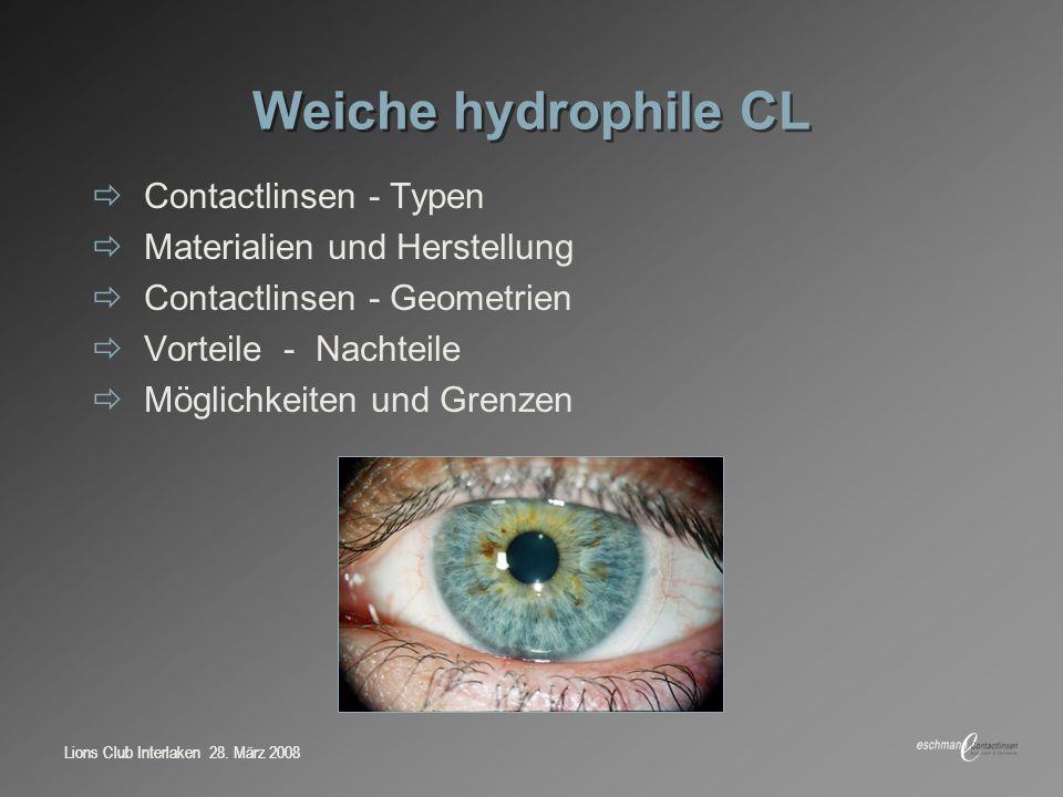Weiche hydrophile CL Contactlinsen - Typen Materialien und Herstellung