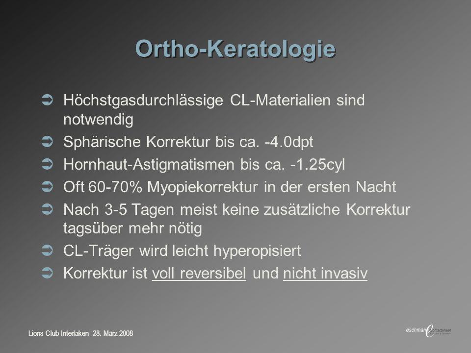 Ortho-Keratologie Höchstgasdurchlässige CL-Materialien sind notwendig