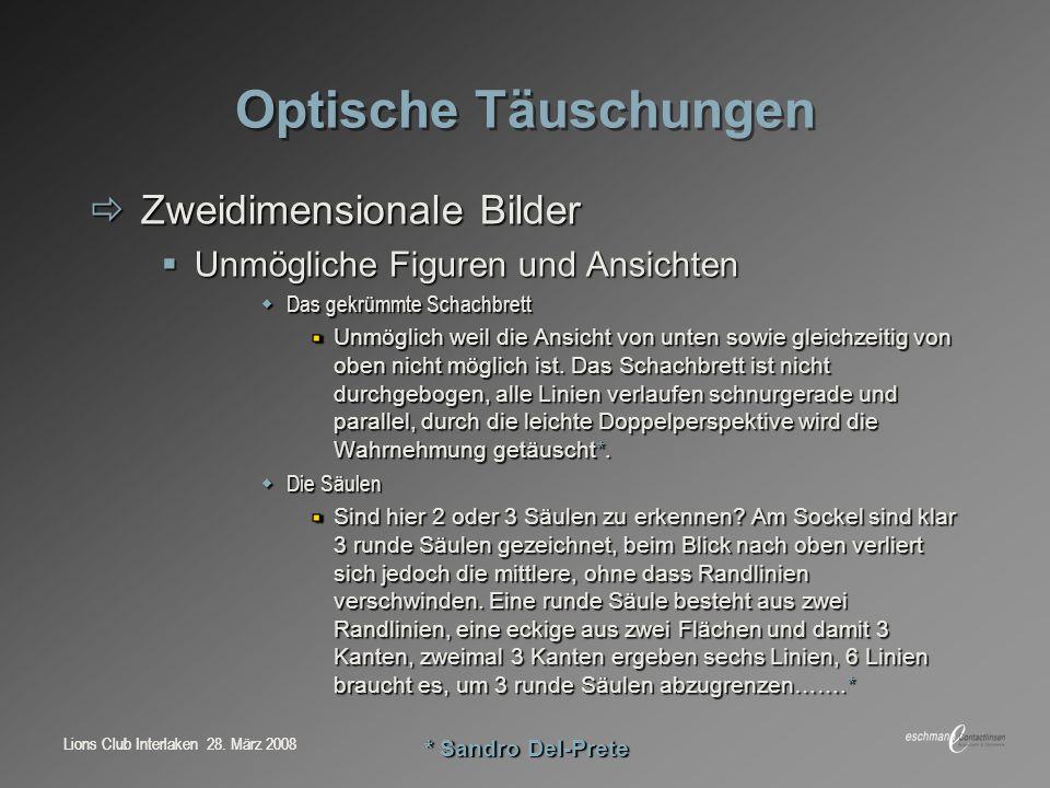Optische Täuschungen Zweidimensionale Bilder