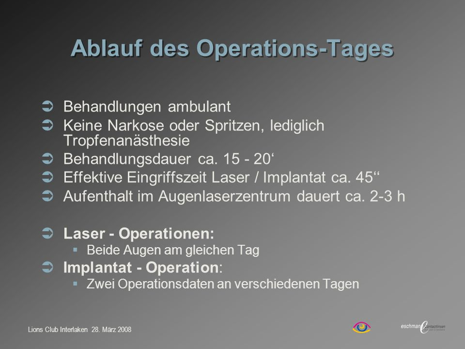 Ablauf des Operations-Tages