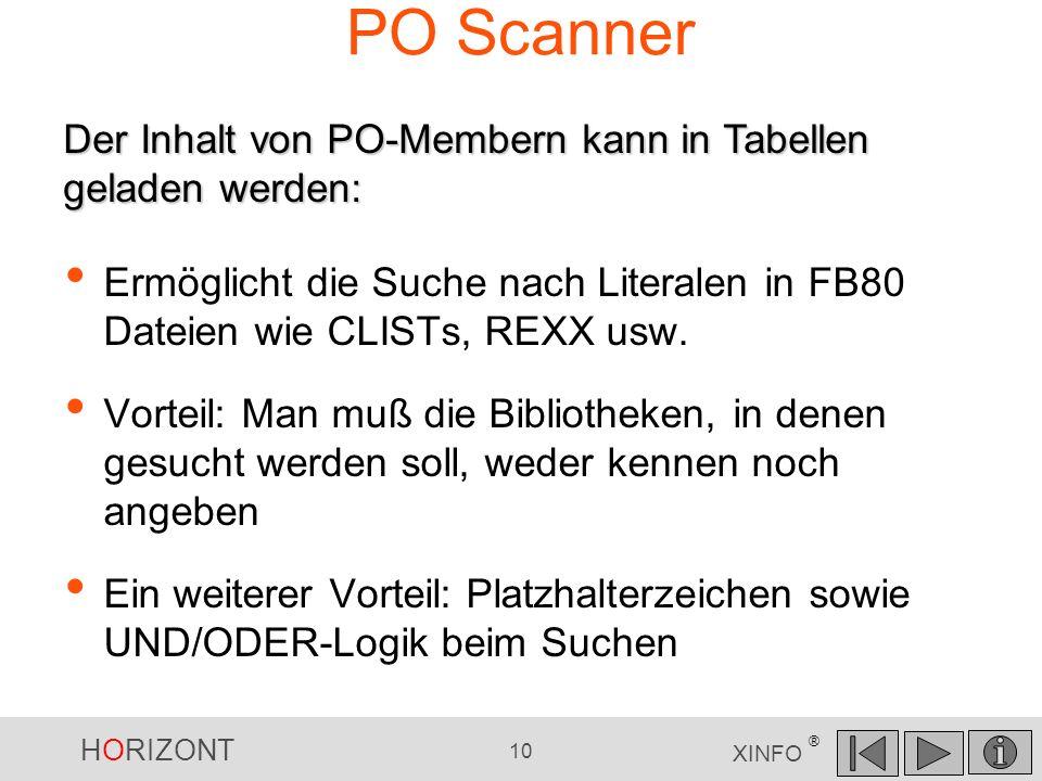PO Scanner Der Inhalt von PO-Membern kann in Tabellen geladen werden:
