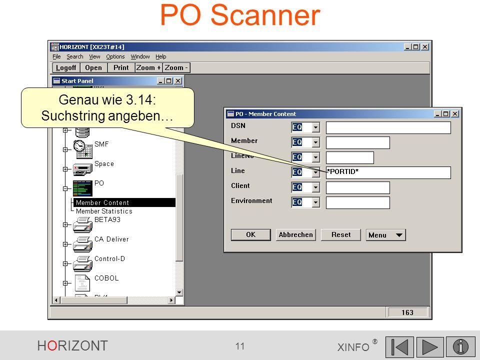 PO Scanner Genau wie 3.14: Suchstring angeben…