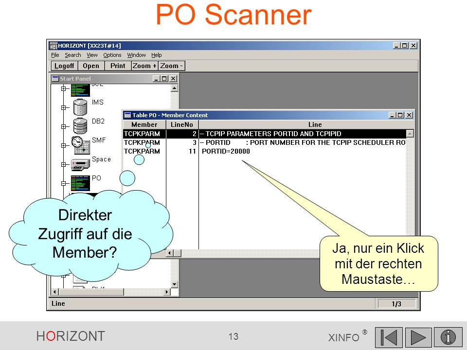 PO Scanner Direkter Zugriff auf die Member