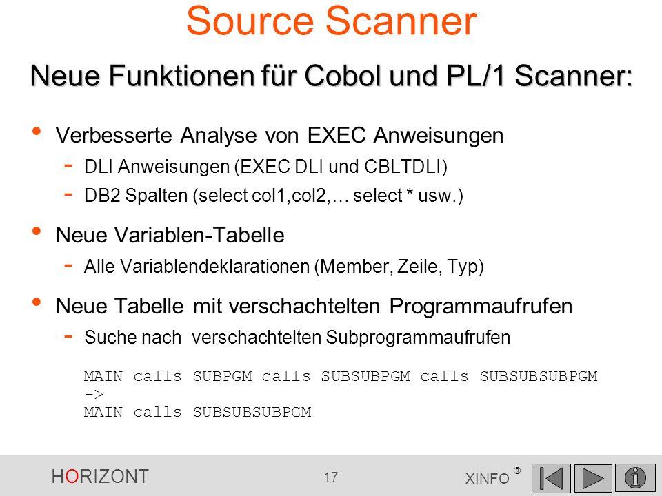 Source Scanner Neue Funktionen für Cobol und PL/1 Scanner: