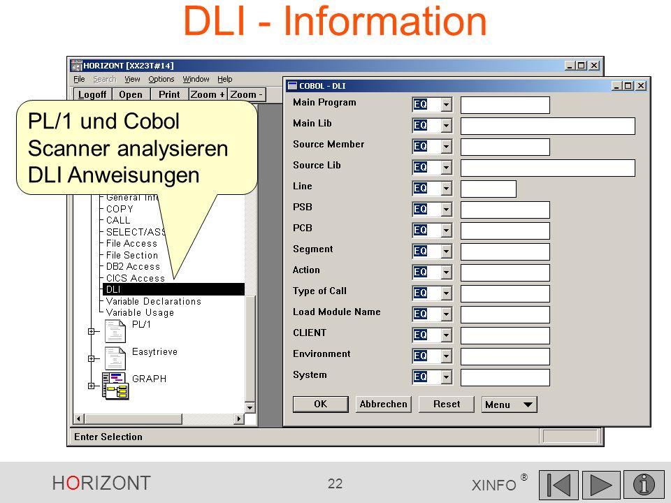 DLI - Information PL/1 und Cobol Scanner analysieren DLI Anweisungen