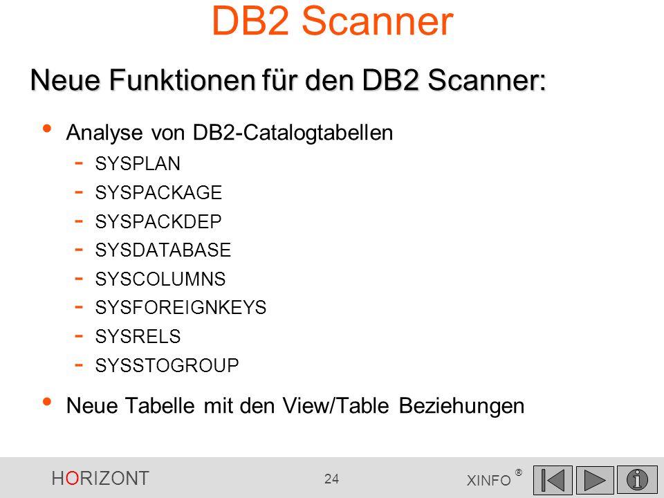 DB2 Scanner Neue Funktionen für den DB2 Scanner: