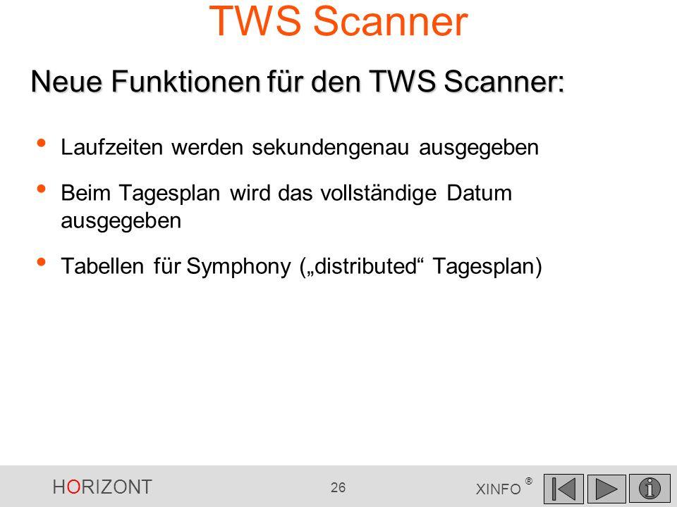 TWS Scanner Neue Funktionen für den TWS Scanner: