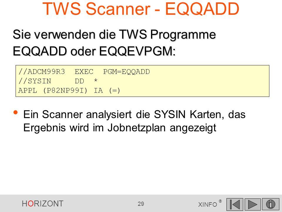 TWS Scanner - EQQADD Sie verwenden die TWS Programme EQQADD oder EQQEVPGM: //ADCM99R3 EXEC PGM=EQQADD.