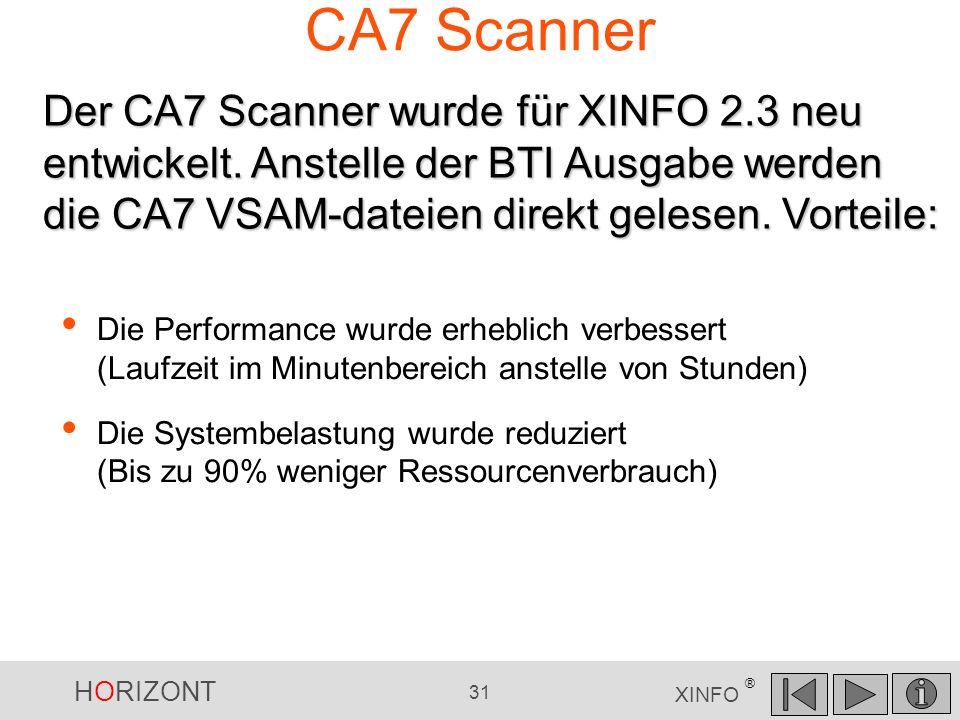 CA7 Scanner Der CA7 Scanner wurde für XINFO 2.3 neu entwickelt. Anstelle der BTI Ausgabe werden die CA7 VSAM-dateien direkt gelesen. Vorteile: