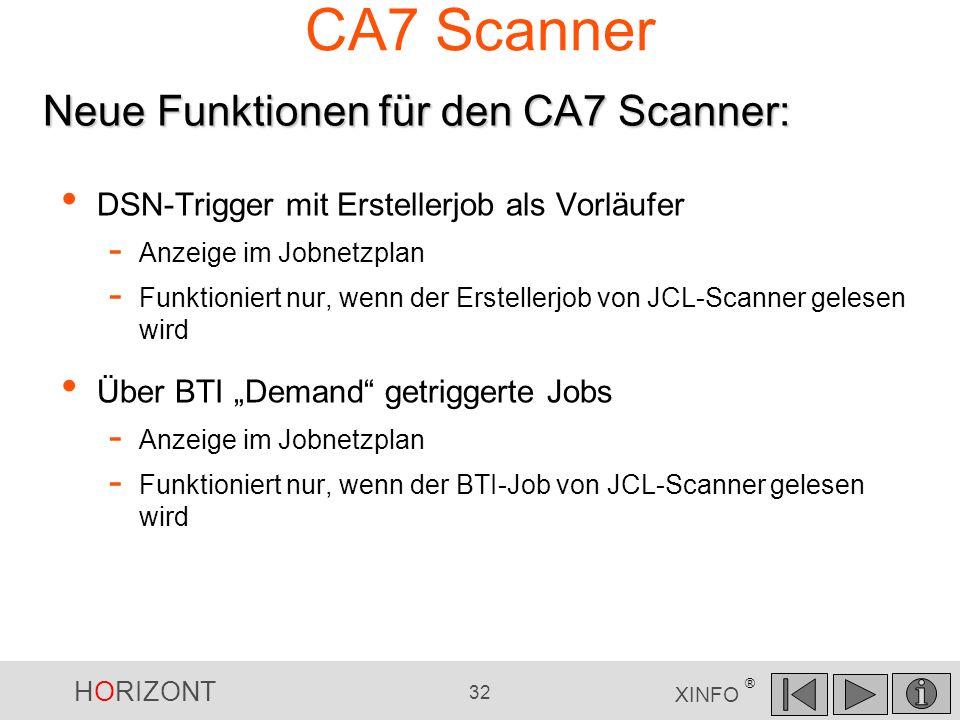 CA7 Scanner Neue Funktionen für den CA7 Scanner: