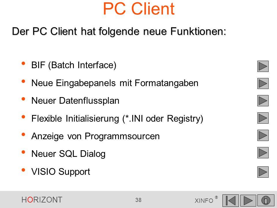 PC Client Der PC Client hat folgende neue Funktionen:
