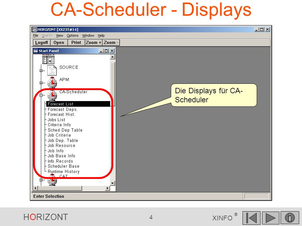 CA-Scheduler - Displays