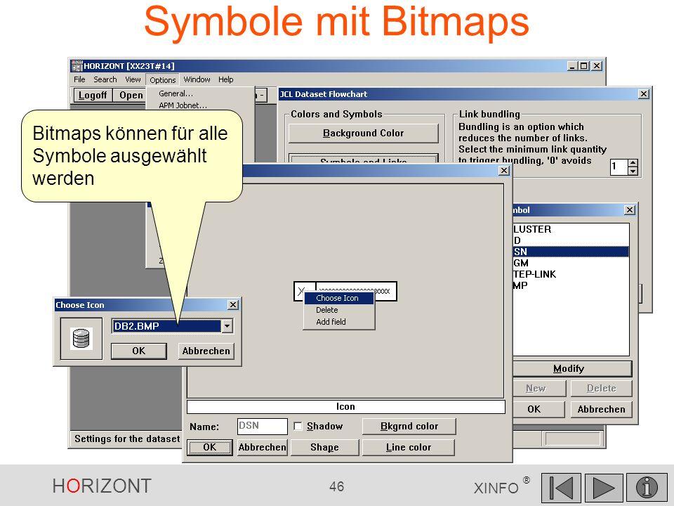 Symbole mit Bitmaps Bitmaps können für alle Symbole ausgewählt werden