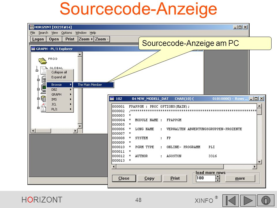 Sourcecode-Anzeige Sourcecode-Anzeige am PC