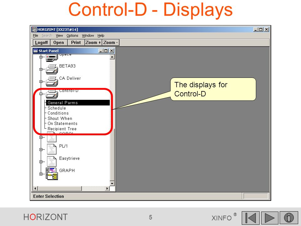 Control-D - Displays The displays for Control-D