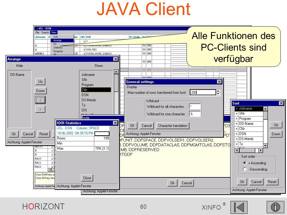 Alle Funktionen des PC-Clients sind verfügbar