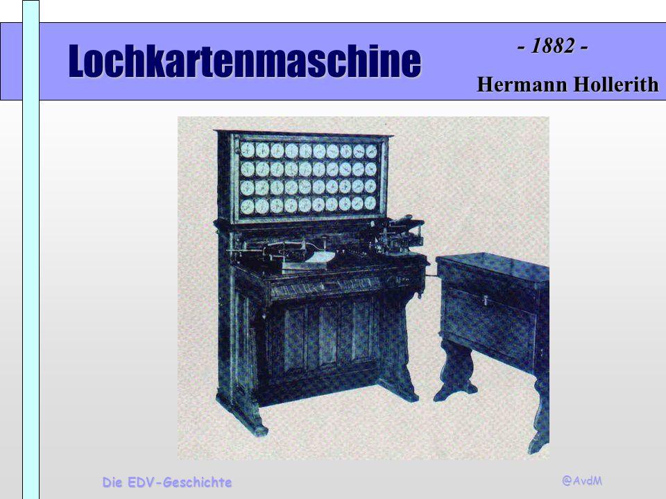 - 1882 - Lochkartenmaschine Hermann Hollerith Die EDV-Geschichte @AvdM