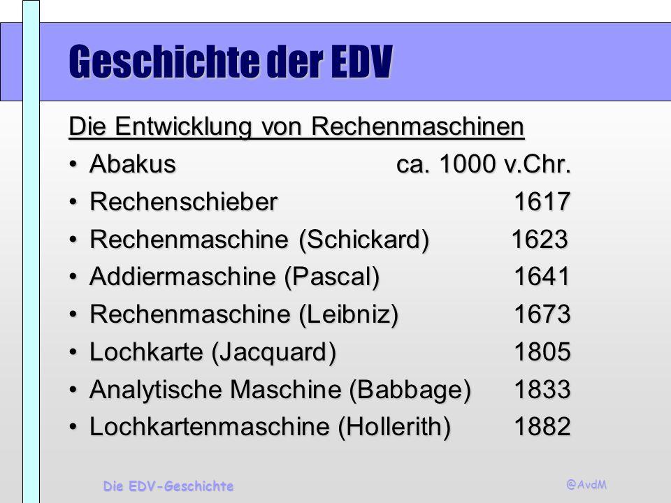 Geschichte der EDV Die Entwicklung von Rechenmaschinen