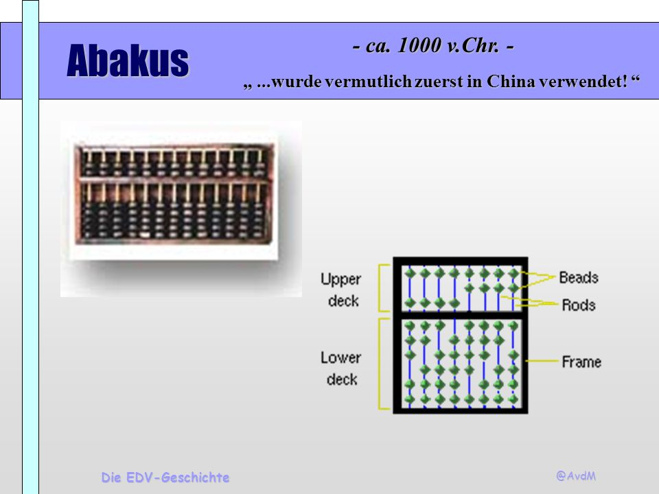 """- ca. 1000 v.Chr. - Abakus. """" ...wurde vermutlich zuerst in China verwendet! Die EDV-Geschichte."""