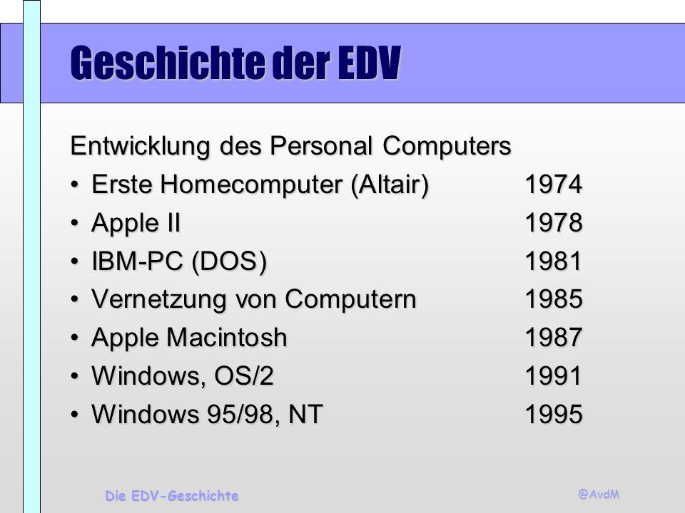 Geschichte der EDV Entwicklung des Personal Computers