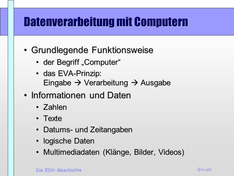 Datenverarbeitung mit Computern