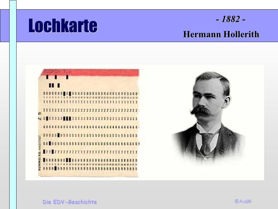 - 1882 - Lochkarte Hermann Hollerith Die EDV-Geschichte @AvdM