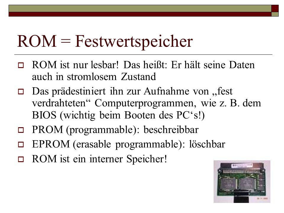 ROM = Festwertspeicher