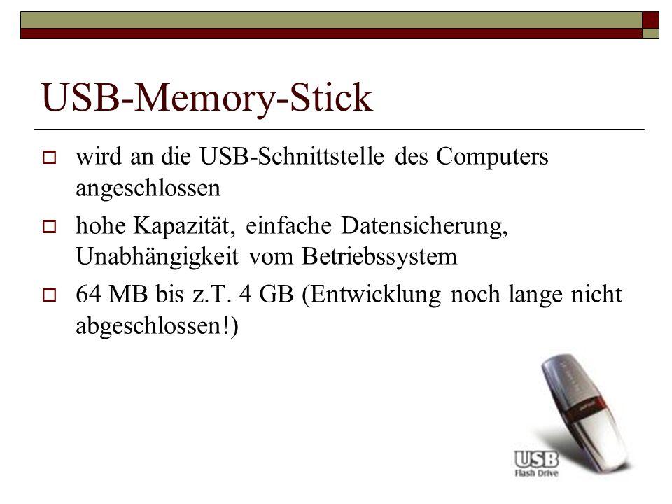 USB-Memory-Stick wird an die USB-Schnittstelle des Computers angeschlossen.