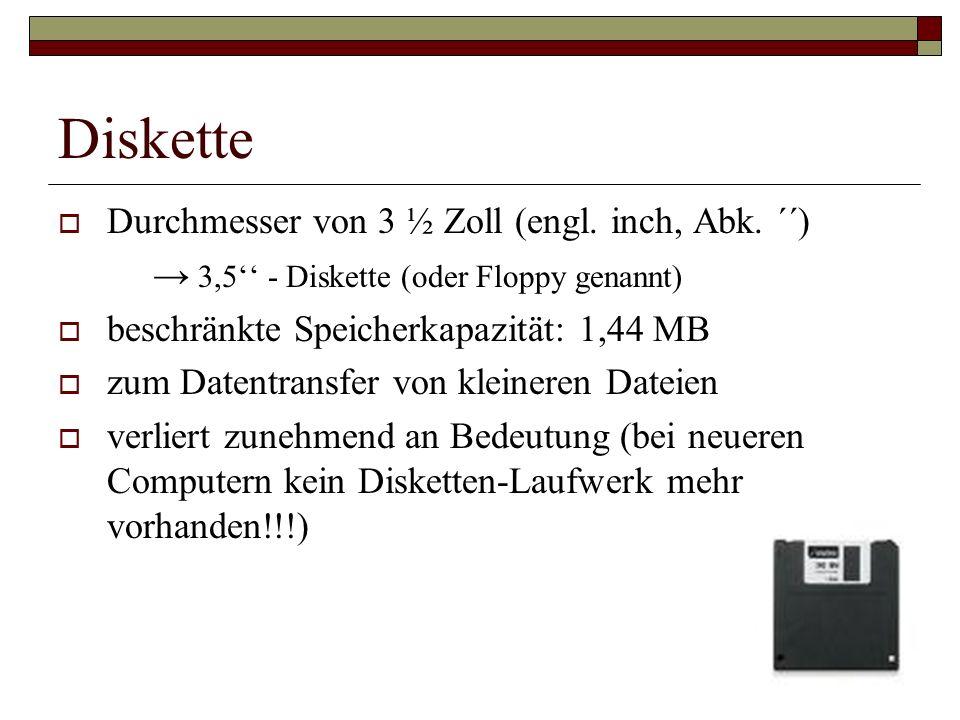 Diskette Durchmesser von 3 ½ Zoll (engl. inch, Abk. ´´)