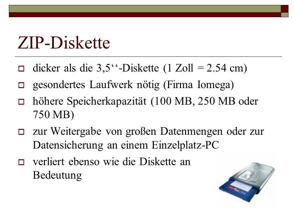 ZIP-Diskette dicker als die 3,5''-Diskette (1 Zoll = 2.54 cm)