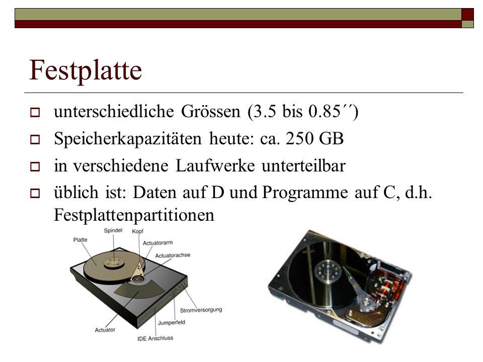 Festplatte unterschiedliche Grössen (3.5 bis 0.85´´)