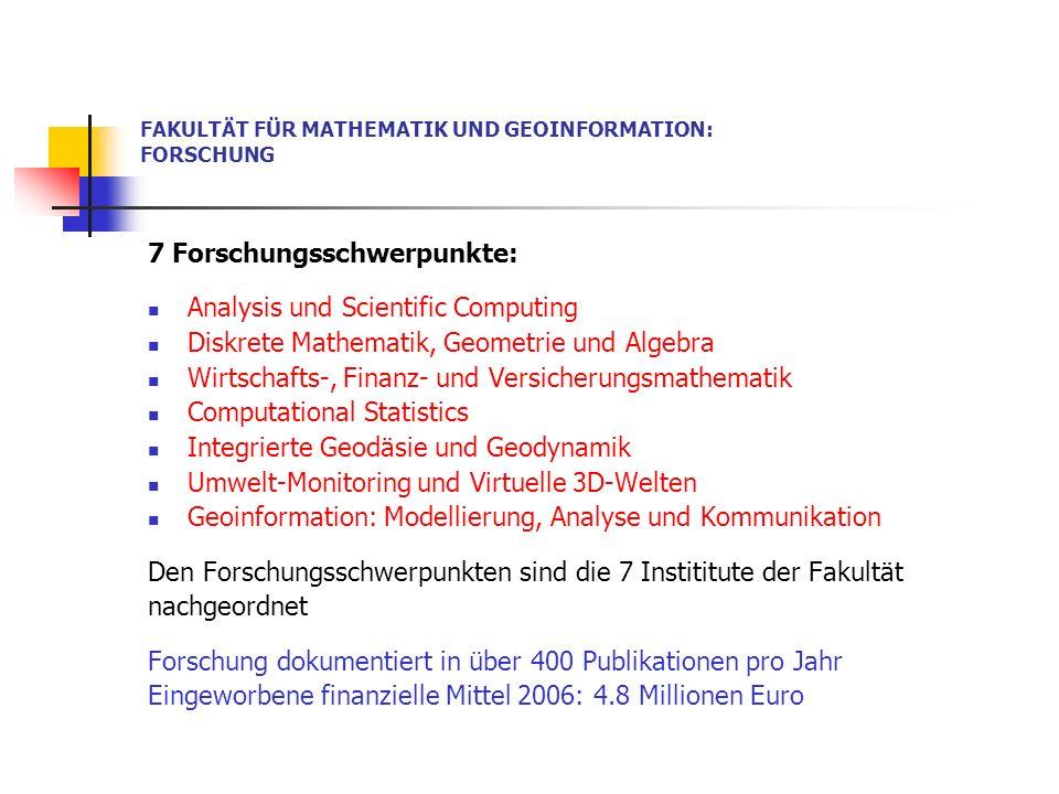 FAKULTÄT FÜR MATHEMATIK UND GEOINFORMATION: FORSCHUNG