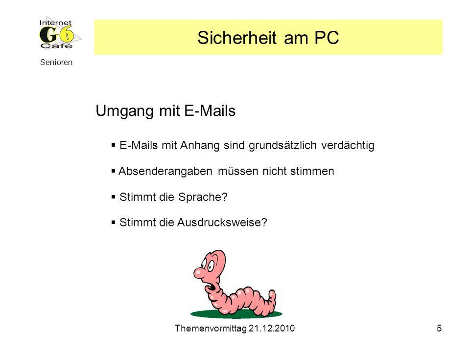 Sicherheit am PC Umgang mit E-Mails