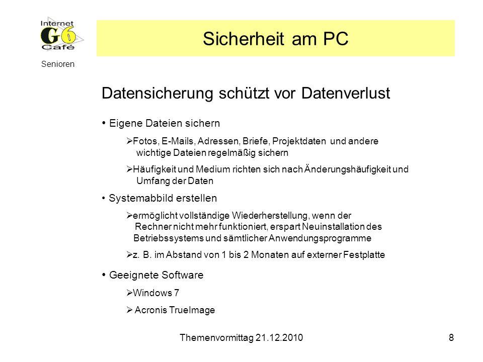 Sicherheit am PC Datensicherung schützt vor Datenverlust