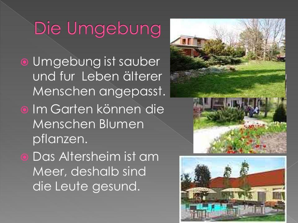 Die Umgebung Umgebung ist sauber und fur Leben älterer Menschen angepasst. Im Garten können die Menschen Blumen pflanzen.