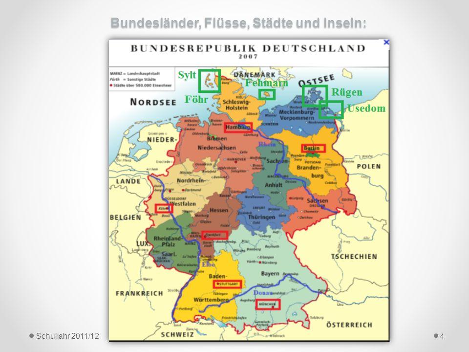Bundesländer, Flüsse, Städte und Inseln:
