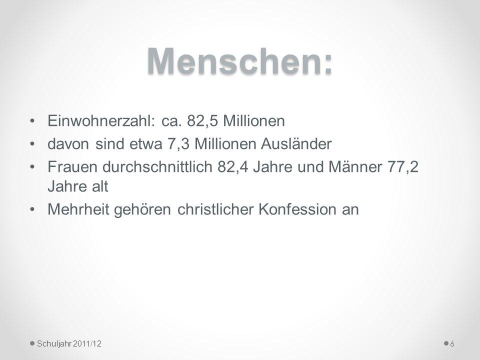 Menschen: Einwohnerzahl: ca. 82,5 Millionen