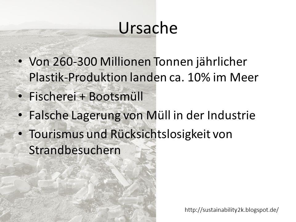 Ursache Von 260-300 Millionen Tonnen jährlicher Plastik-Produktion landen ca. 10% im Meer. Fischerei + Bootsmüll.