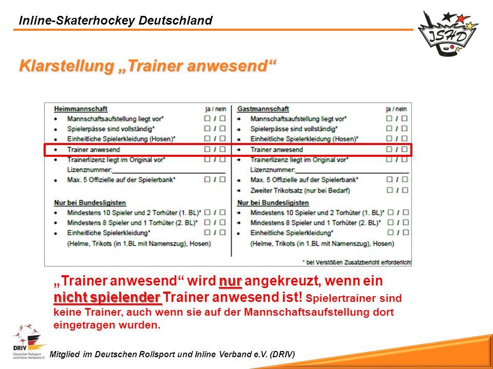 """Klarstellung """"Trainer anwesend"""