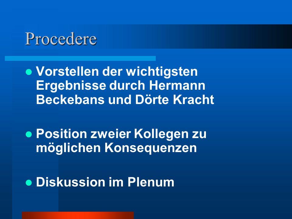 Procedere Vorstellen der wichtigsten Ergebnisse durch Hermann Beckebans und Dörte Kracht. Position zweier Kollegen zu möglichen Konsequenzen.